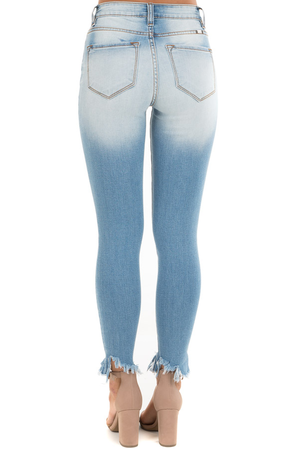 Medium Wash Skinny Jeans with Button Details and Distressing back view