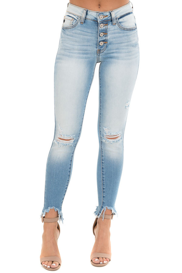 Medium Wash Skinny Jeans with Button Details and Distressing front view