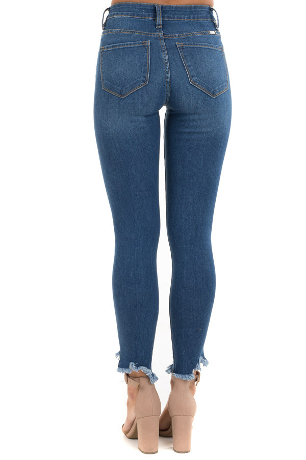 Dark Wash High Waisted Skinny Jeans with Distressed Hem back view
