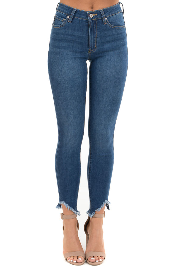 Dark Wash High Waisted Skinny Jeans with Distressed Hem front view