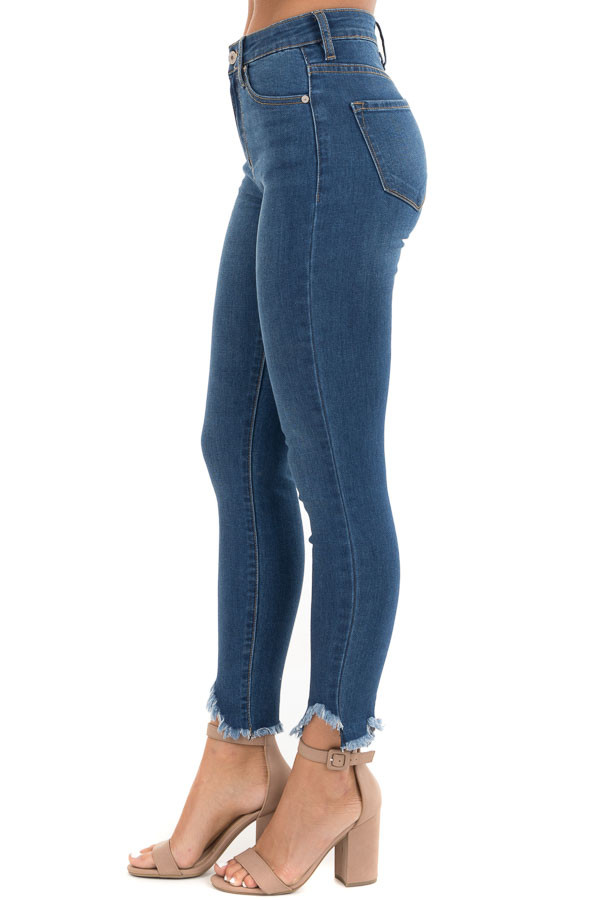 Dark Wash High Waisted Skinny Jeans with Distressed Hem side view