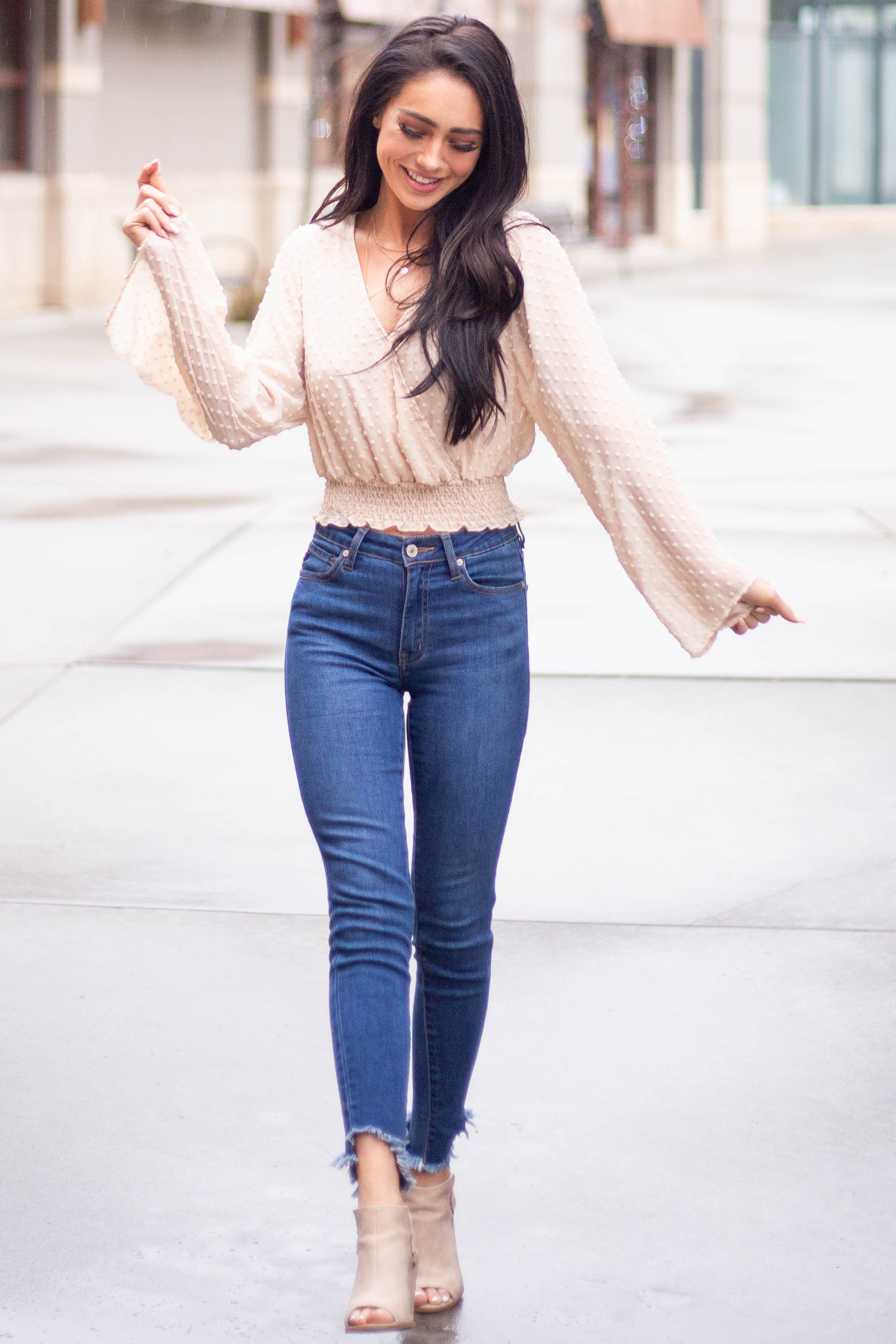 Dark Wash High Waisted Skinny Jeans with Distressed Hem