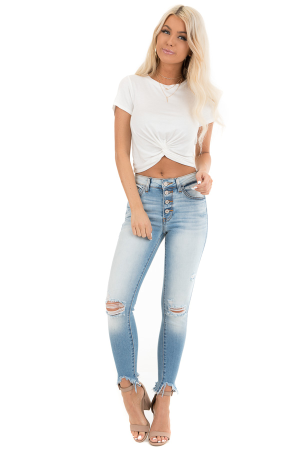 Off White Short Sleeve Crop Top with Front Twist Detail front full body