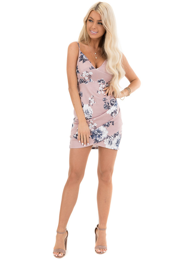Dusty Blush Floral Mini Wrap Dress with Spaghetti Straps front full body