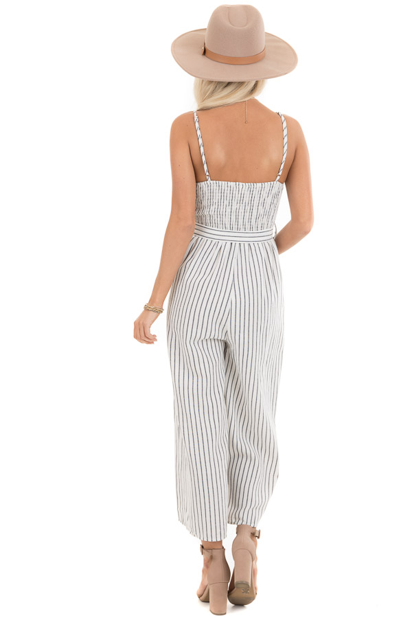 Ivory Striped Capri Length Jumpsuit with Tie Detail back full body