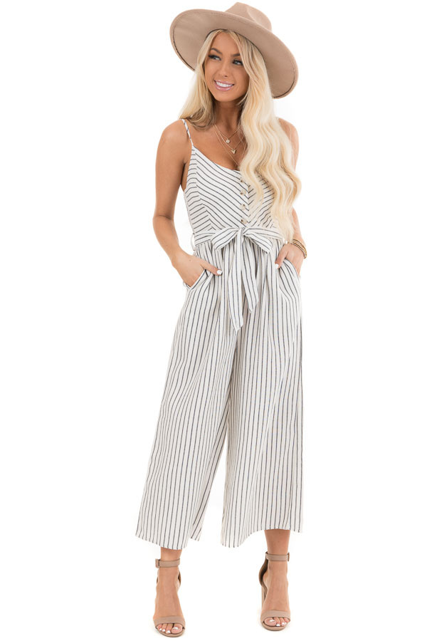 Ivory Striped Capri Length Jumpsuit with Tie Detail front full body