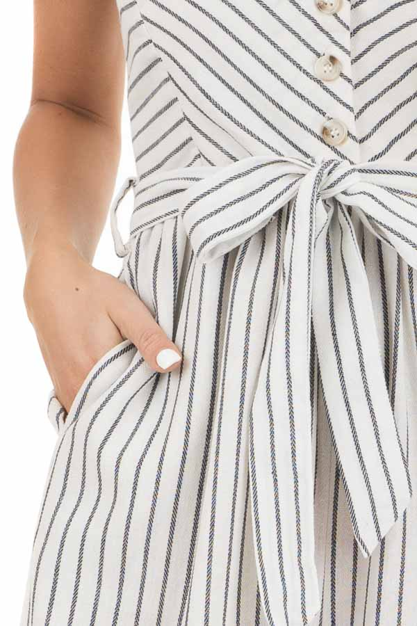 Ivory Striped Capri Length Jumpsuit with Tie Detail detail