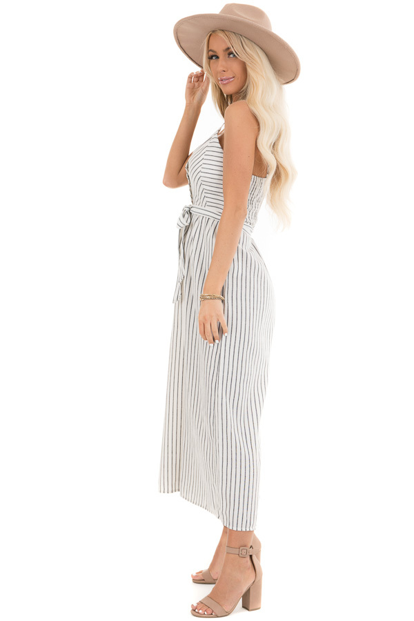 Ivory Striped Capri Length Jumpsuit with Tie Detail side full body