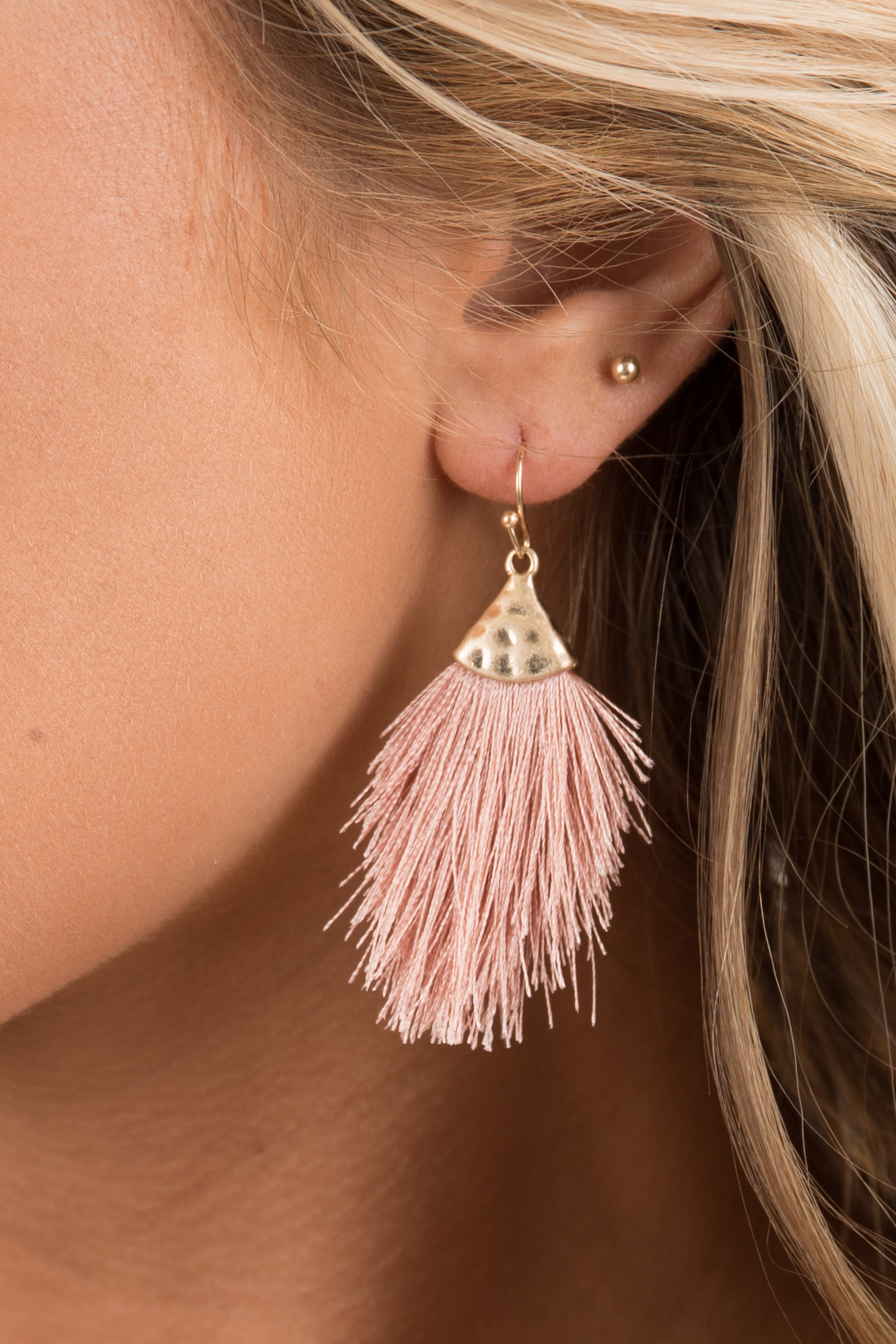Dusty Blush and Gold Hammered Tassel Drop Earrings