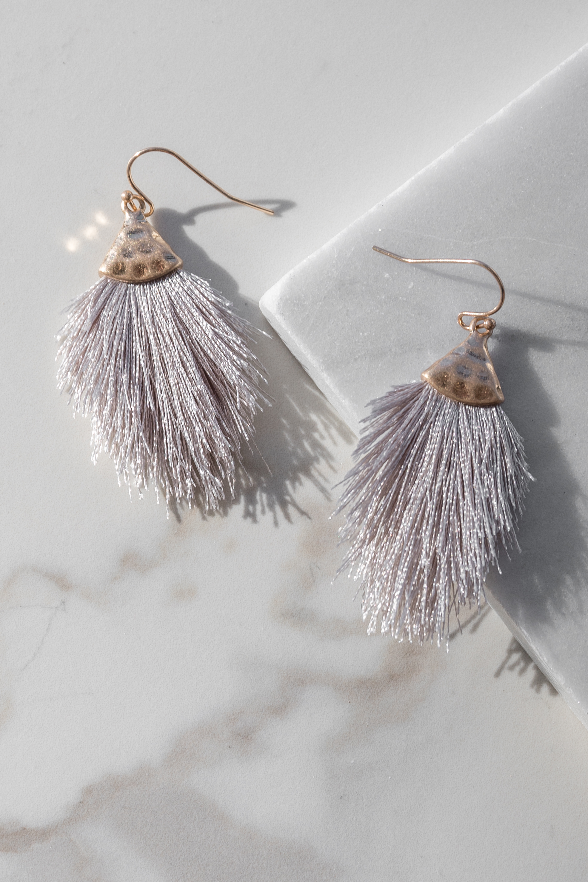 Silver and Gold Hammered Tassel Drop Earrings