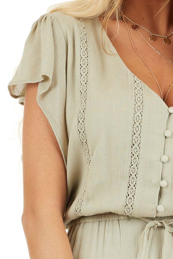 Dusty Sage Button Up Tiered Maxi Dress with Short Sleeves detail