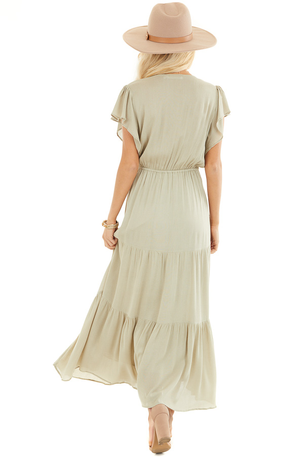 Dusty Sage Button Up Tiered Maxi Dress with Short Sleeves back full body