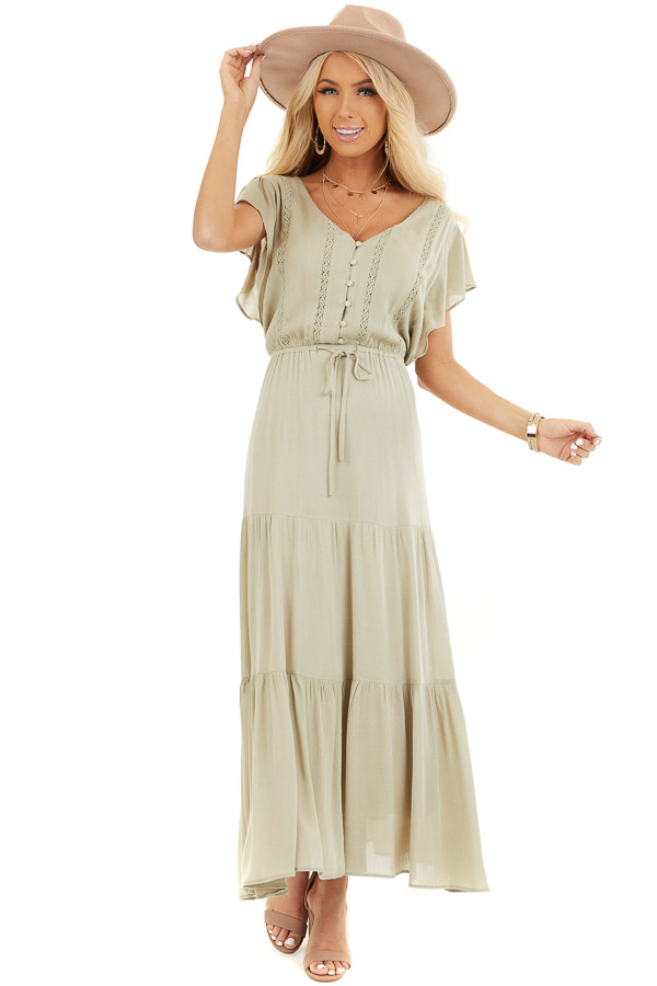 Dusty Sage Button Up Tiered Maxi Dress with Short Sleeves front full body