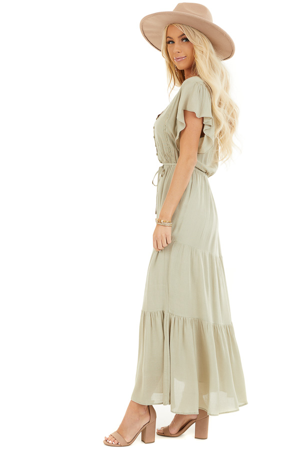 Dusty Sage Button Up Tiered Maxi Dress with Short Sleeves side full body