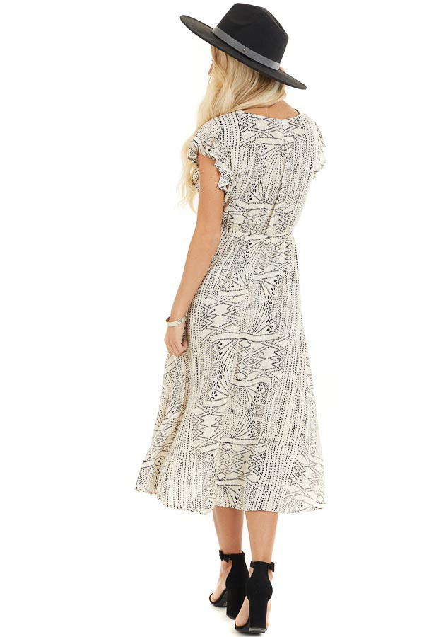 Cream Patterned Surplice Dress with Short Ruffle Sleeves back full body