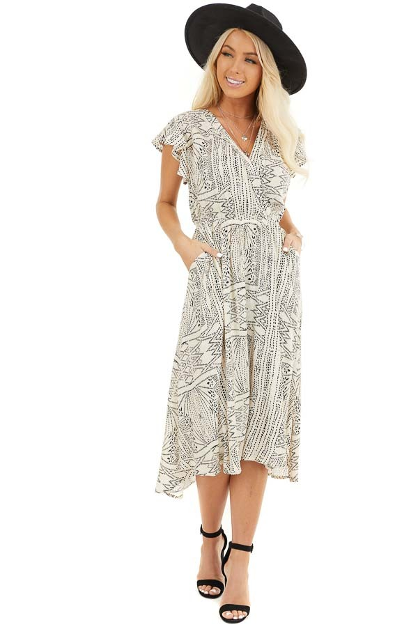 Cream Patterned Surplice Dress with Short Ruffle Sleeves front full body