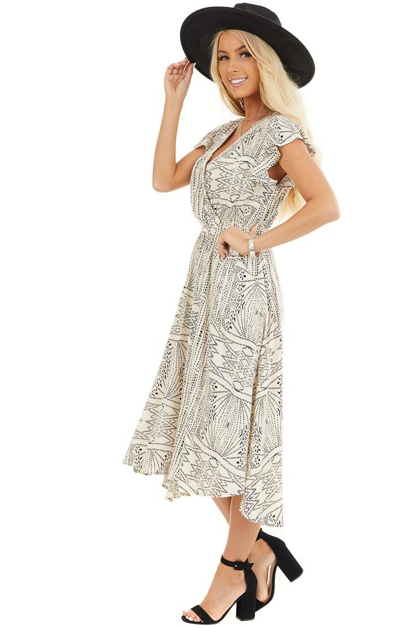 Cream Patterned Surplice Dress with Short Ruffle Sleeves side full body