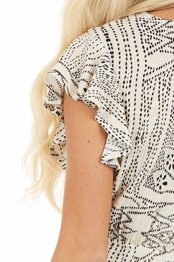 Cream Patterned Surplice Dress with Short Ruffle Sleeves detail