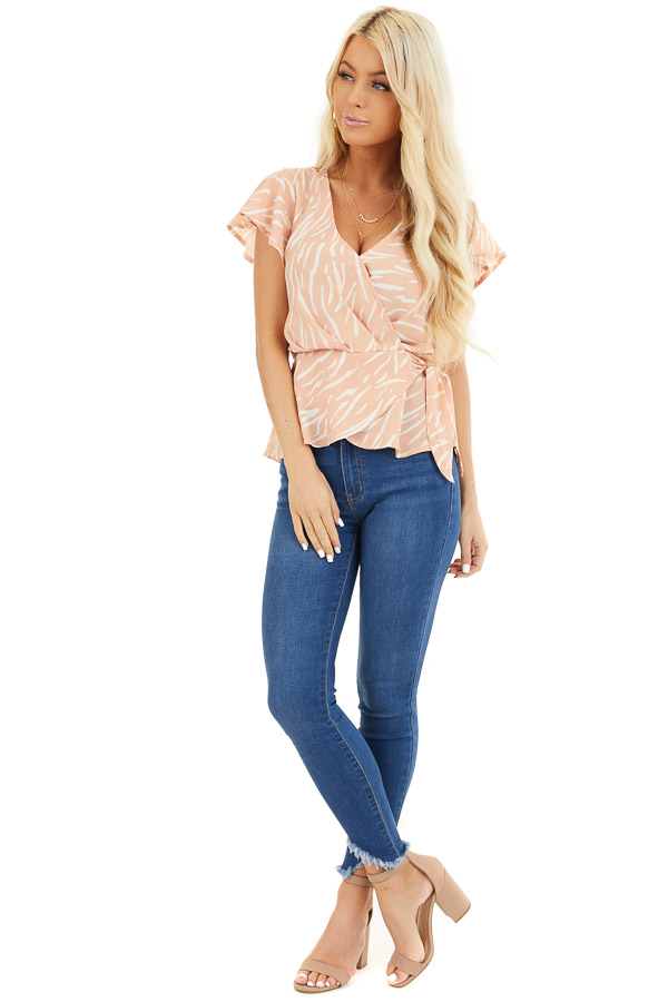 Peach and Ivory Printed Surplice Blouse with Side Tie Detail front full body