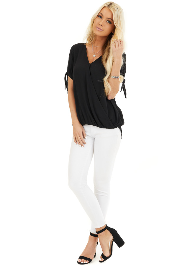 Black Short Sleeve Surplice Blouse Top with Cold Shoulders front full body