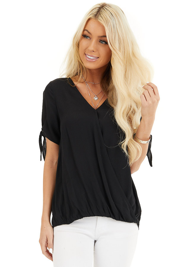 Black Short Sleeve Surplice Blouse Top with Cold Shoulders