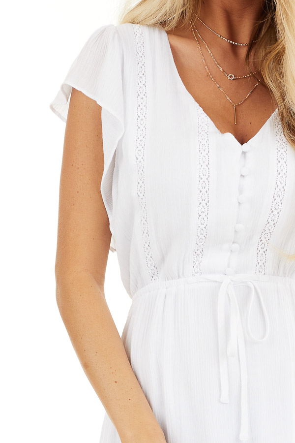 White Button Up Tiered Maxi Dress with Short Sleeves detail