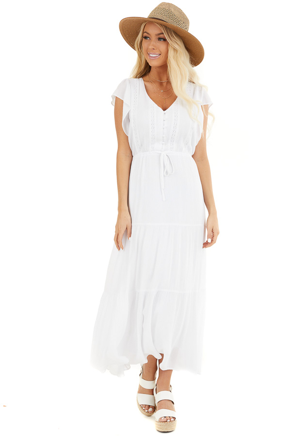 White Button Up Tiered Maxi Dress with Short Sleeves front full body