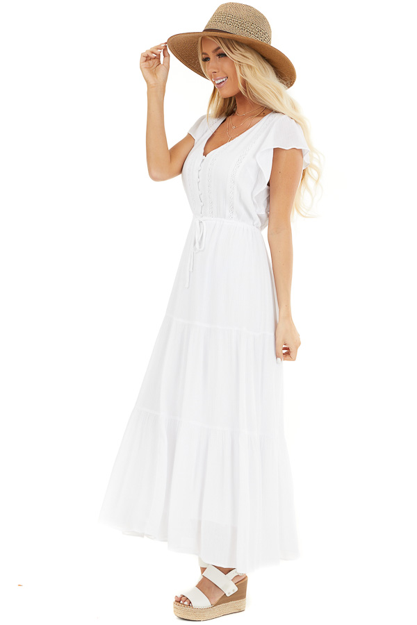 White Button Up Tiered Maxi Dress with Short Sleeves side full body