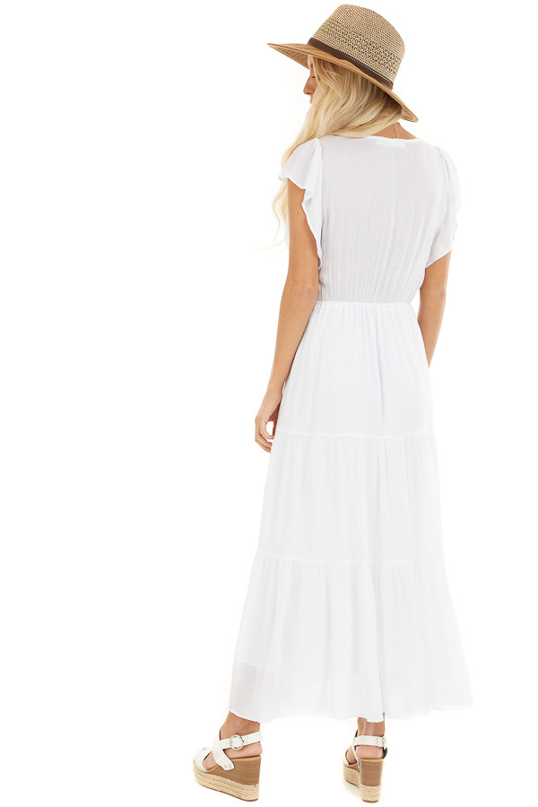 White Button Up Tiered Maxi Dress with Short Sleeves back full body