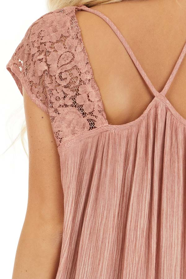 Dusty Rose Top with Sheer Lace Detail and Cutout Back detail