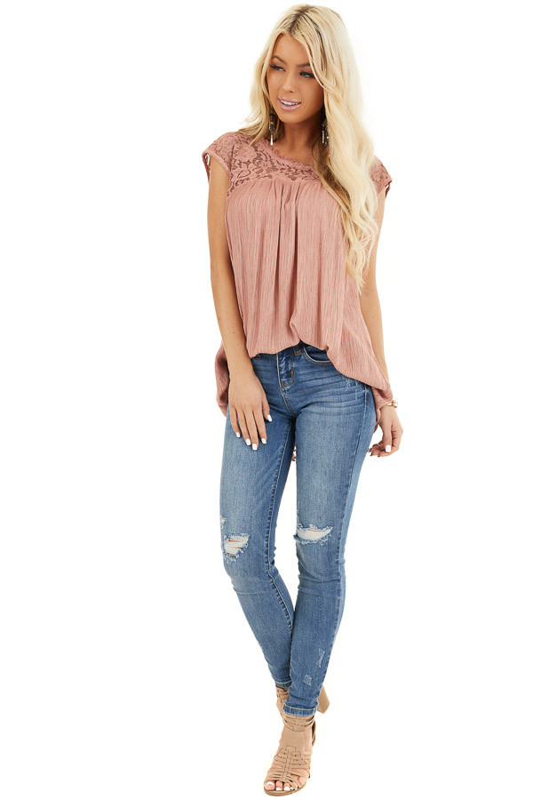 Dusty Rose Top with Sheer Lace Detail and Cutout Back front full body