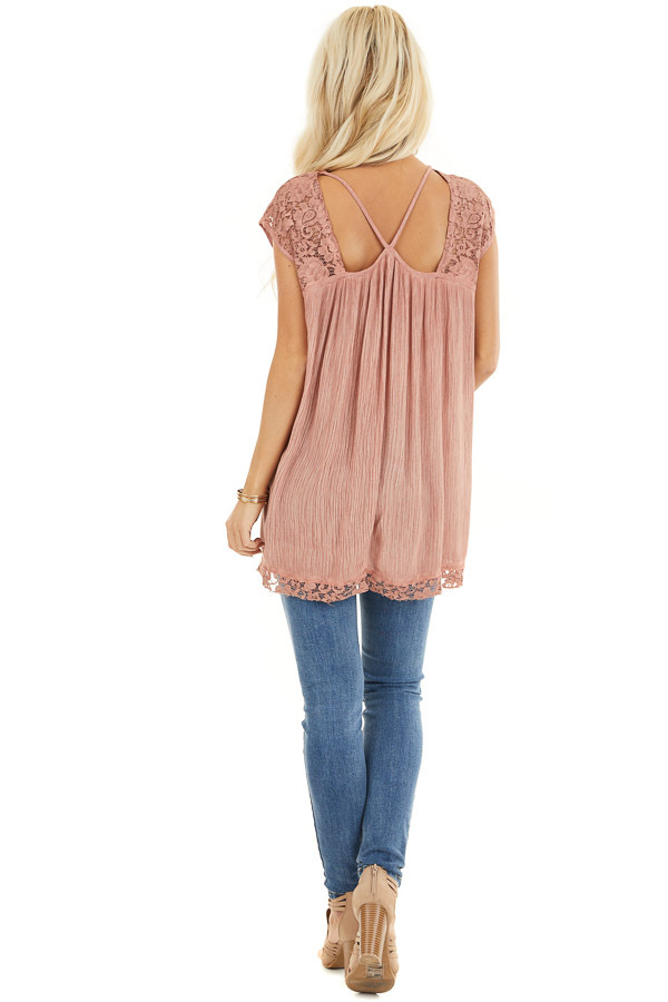 Dusty Rose Top with Sheer Lace Detail and Cutout Back back full body