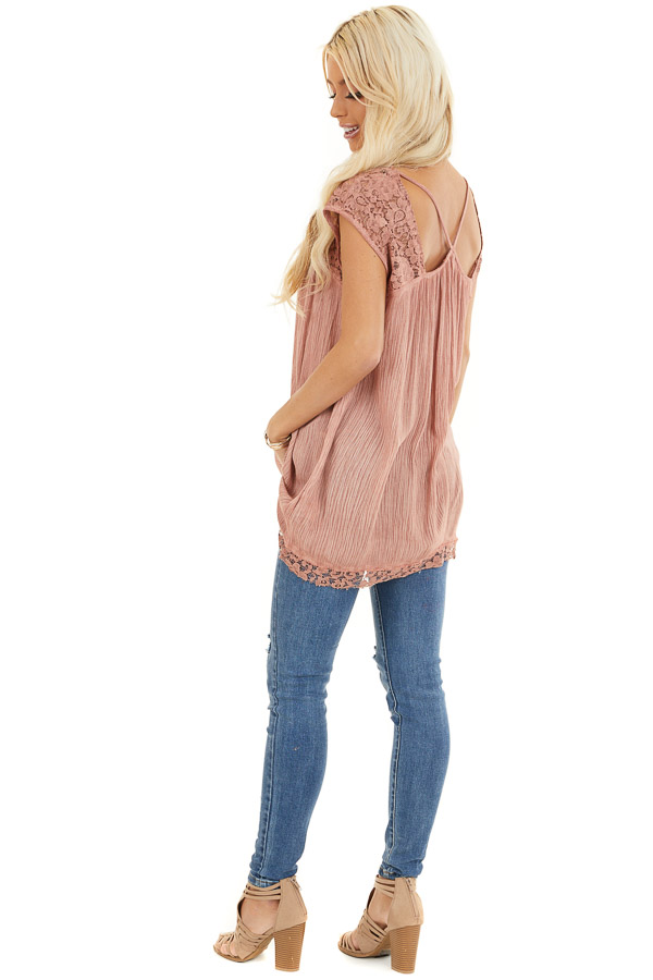 Dusty Rose Top with Sheer Lace Detail and Cutout Back side full body