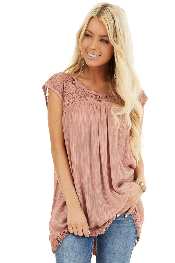Dusty Rose Top with Sheer Lace Detail and Cutout Back front close up