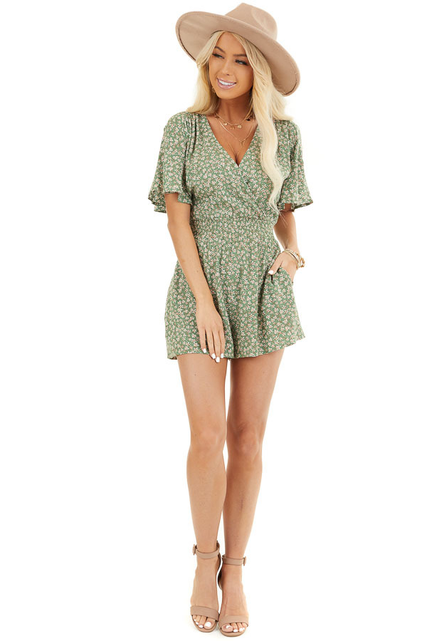 Shamrock Floral Print Surplice Romper with Elastic Waistband front full body