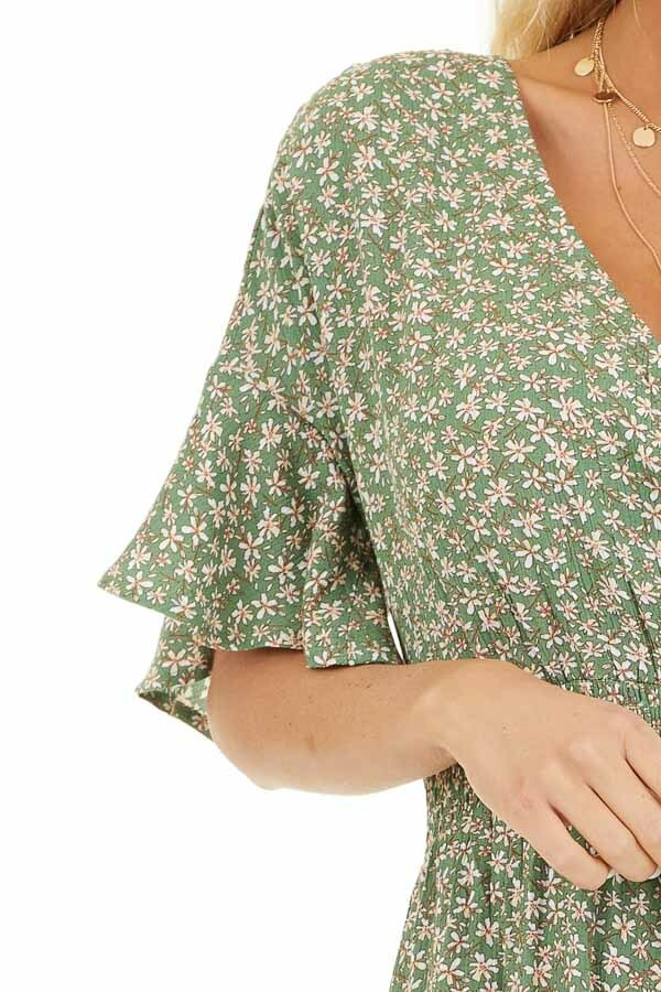 Shamrock Floral Print Surplice Romper with Elastic Waistband detail