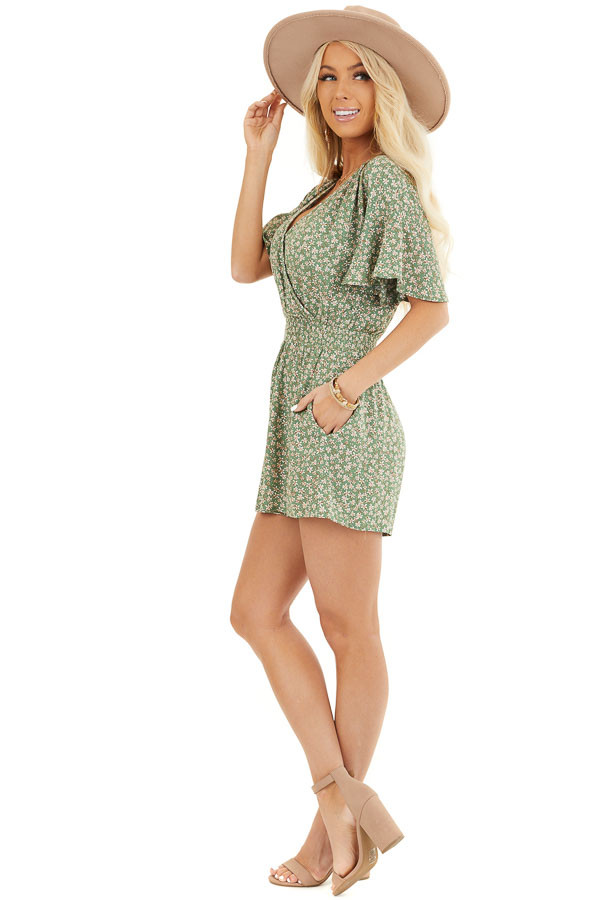 Shamrock Floral Print Surplice Romper with Elastic Waistband side full body
