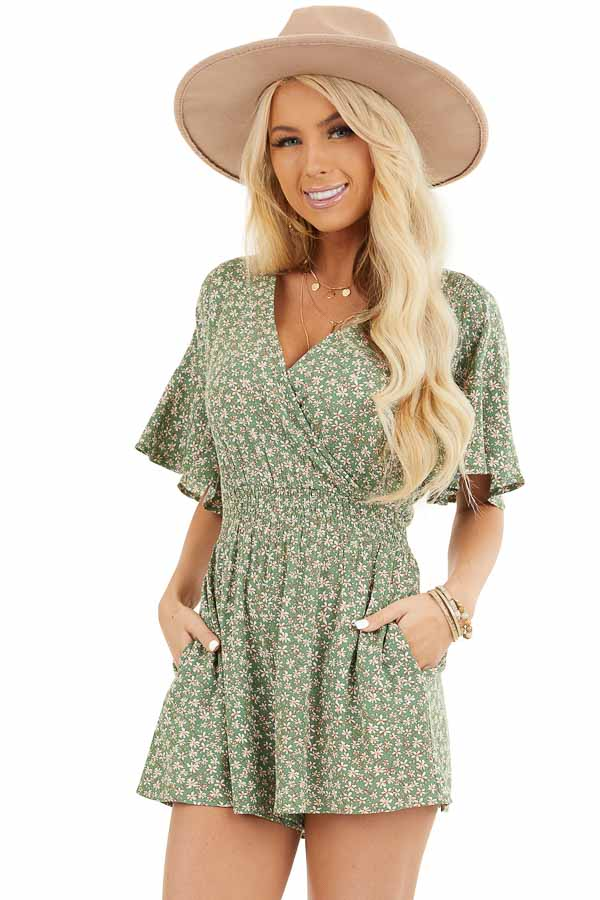 Shamrock Floral Print Surplice Romper with Elastic Waistband front close up