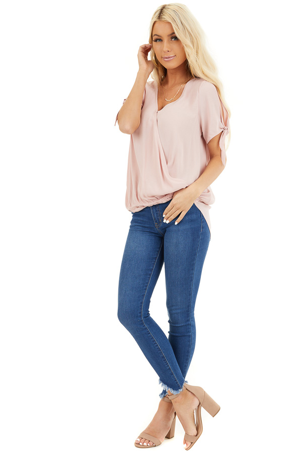 Blush Short Sleeve Surplice Blouse Top with Cold Shoulders front full body