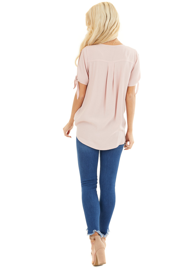 Blush Short Sleeve Surplice Blouse Top with Cold Shoulders back full body
