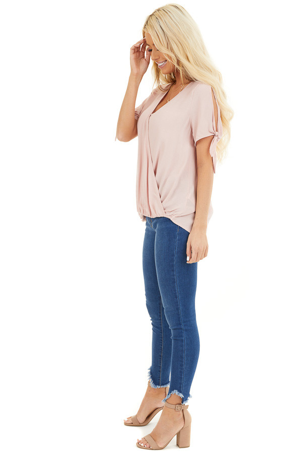 Blush Short Sleeve Surplice Blouse Top with Cold Shoulders side full body