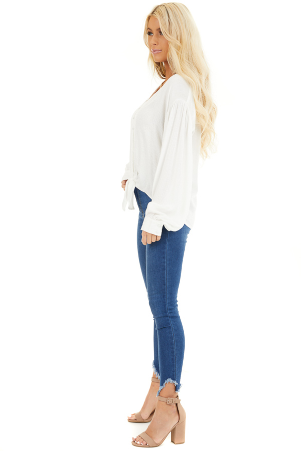 White Snakeskin Texture Woven Top with Bubble Sleeves side full body