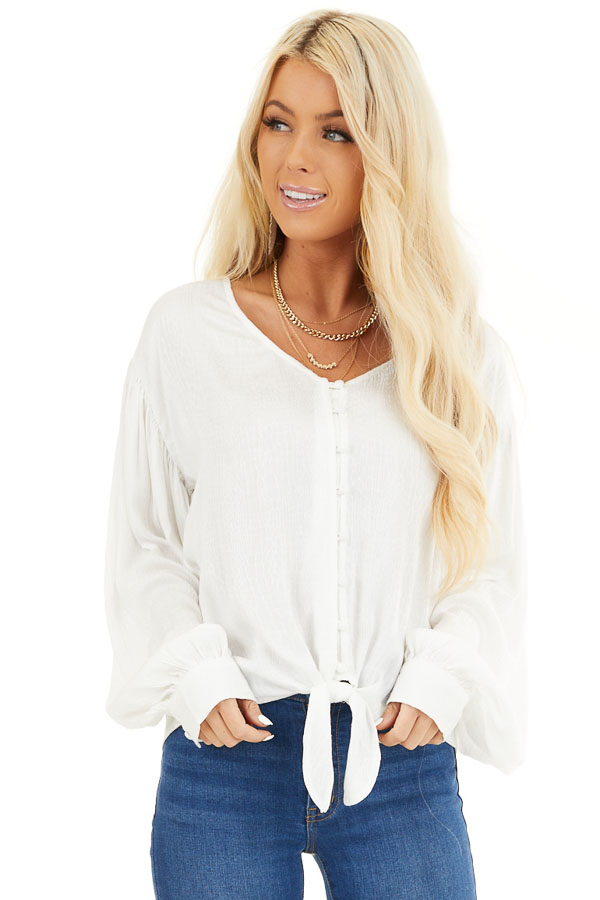 White Snakeskin Texture Woven Top with Bubble Sleeves front close up