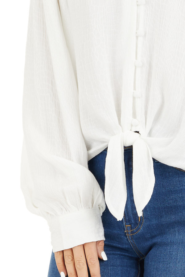 White Snakeskin Texture Woven Top with Bubble Sleeves detail