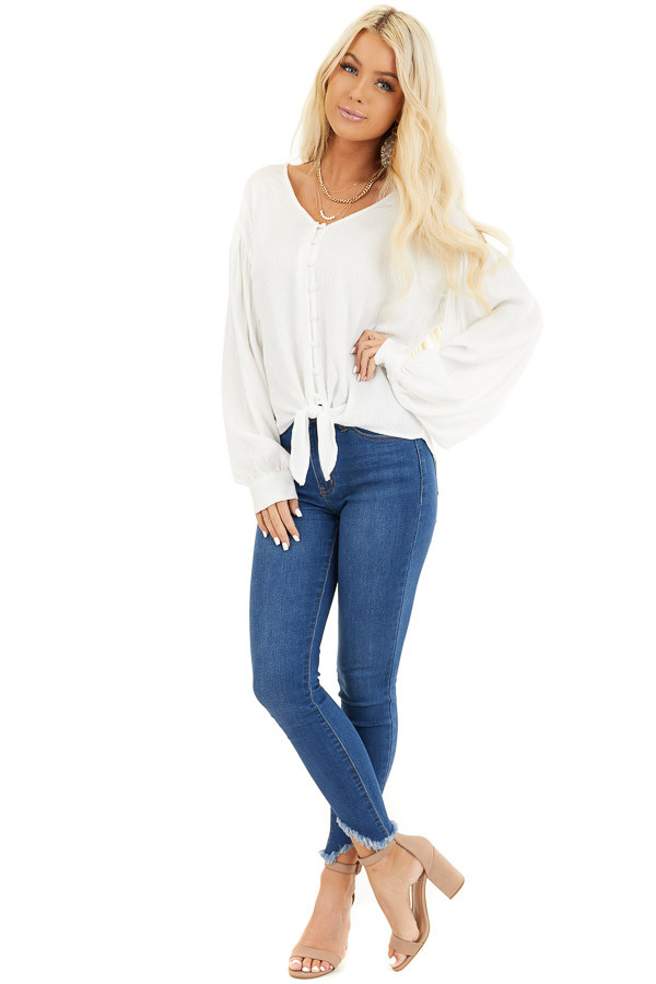 White Snakeskin Texture Woven Top with Bubble Sleeves front full body