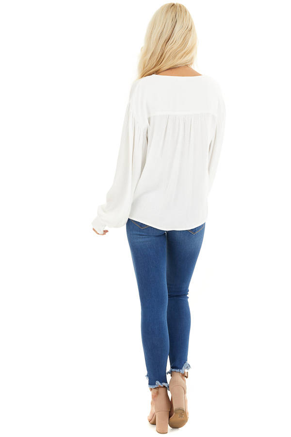 White Snakeskin Texture Woven Top with Bubble Sleeves back full body