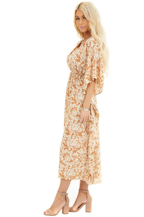 Caramel and Cream Leaf Print Midi Dress with Kimono Sleeves side full body