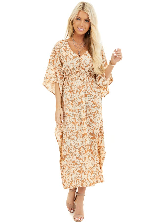Caramel and Cream Leaf Print Midi Dress with Kimono Sleeves front full body