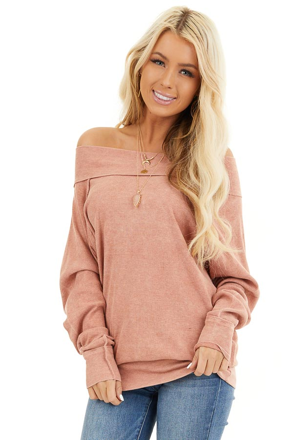 Terracotta Off the Shoulder Ribbed Knit Long Sleeve Tunic front close up