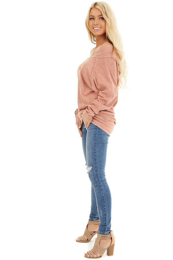 Terracotta Off the Shoulder Ribbed Knit Long Sleeve Tunic side full body